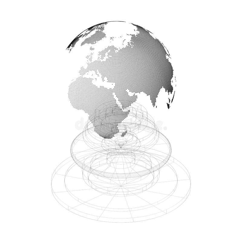 Globe pointillé du monde avec la construction d'isolement sur le fond blanc Structure abstraite de conception de vecteur, forme,  illustration de vecteur