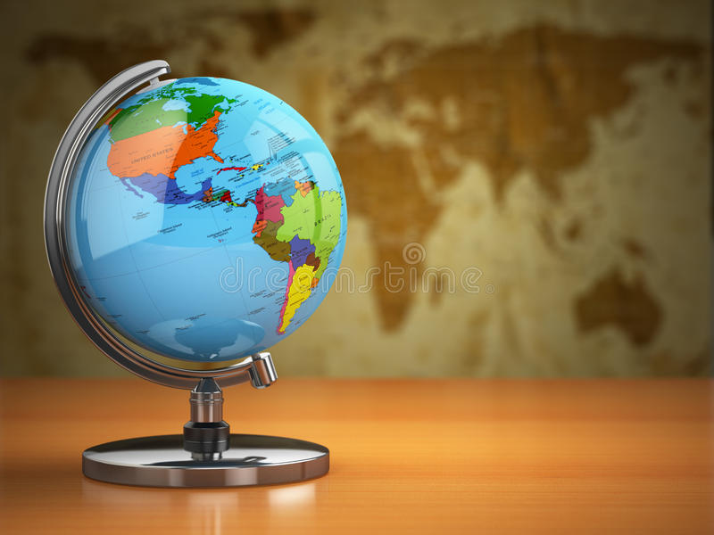 Globe with a political map on vintage background. royalty free illustration