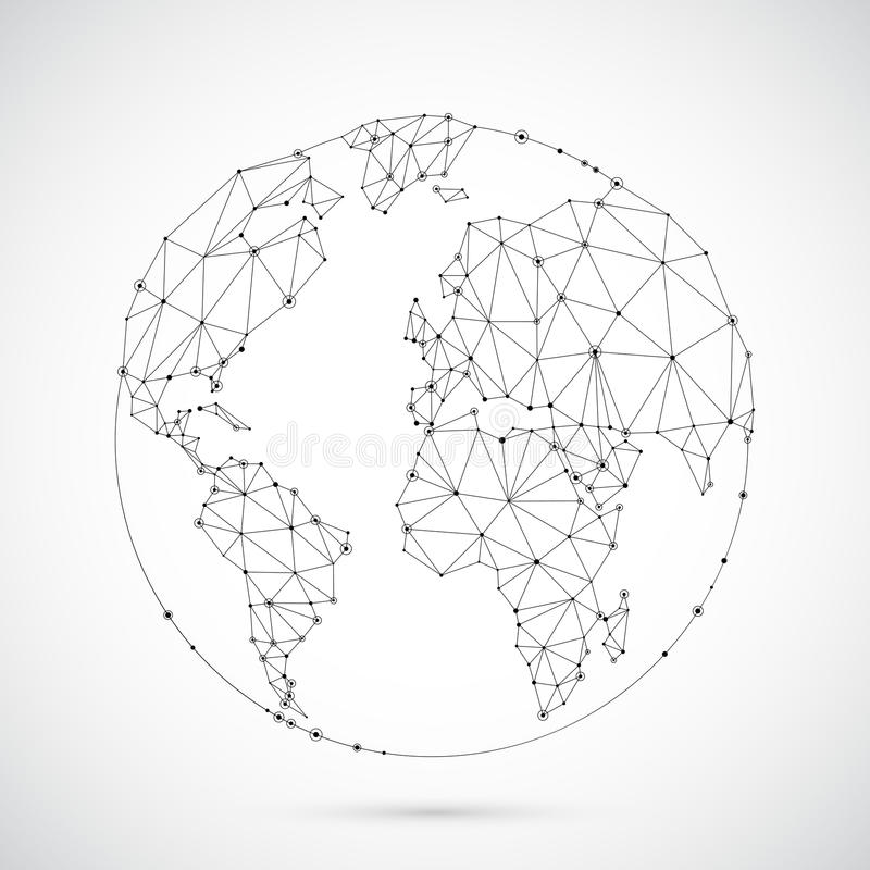 Globe polygonal du monde illustration stock