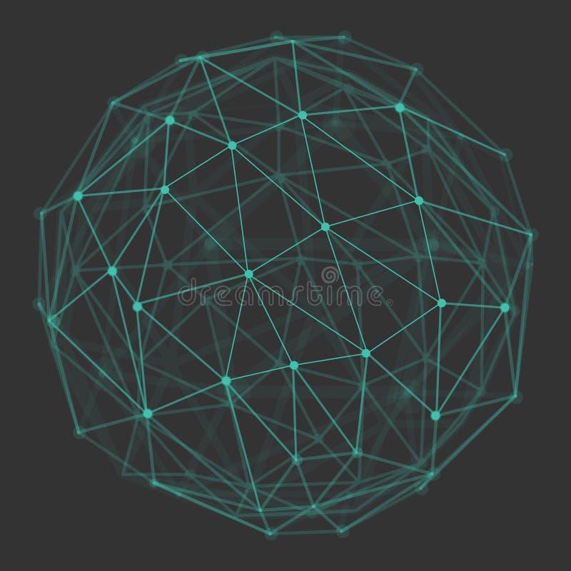 Globe polygonal du vecteur 3d illustration libre de droits