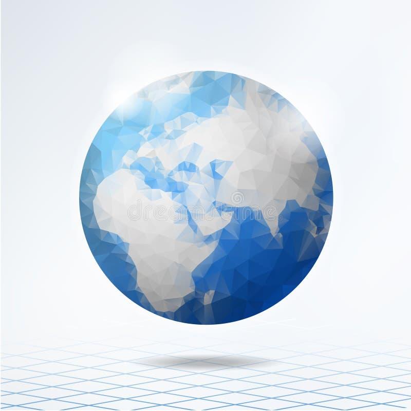 Globe polygonal moderne, la terre de planète, fond illustration de vecteur