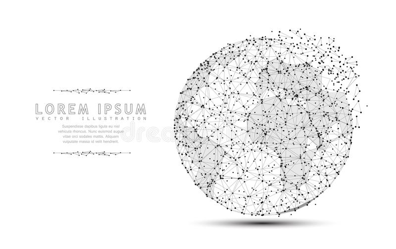 Globe. Polygonal wireframe mesh icon with crumbled edge. Concept illustration or background. Globe. Polygonal wireframe mesh icon with crumbled edge on white stock illustration