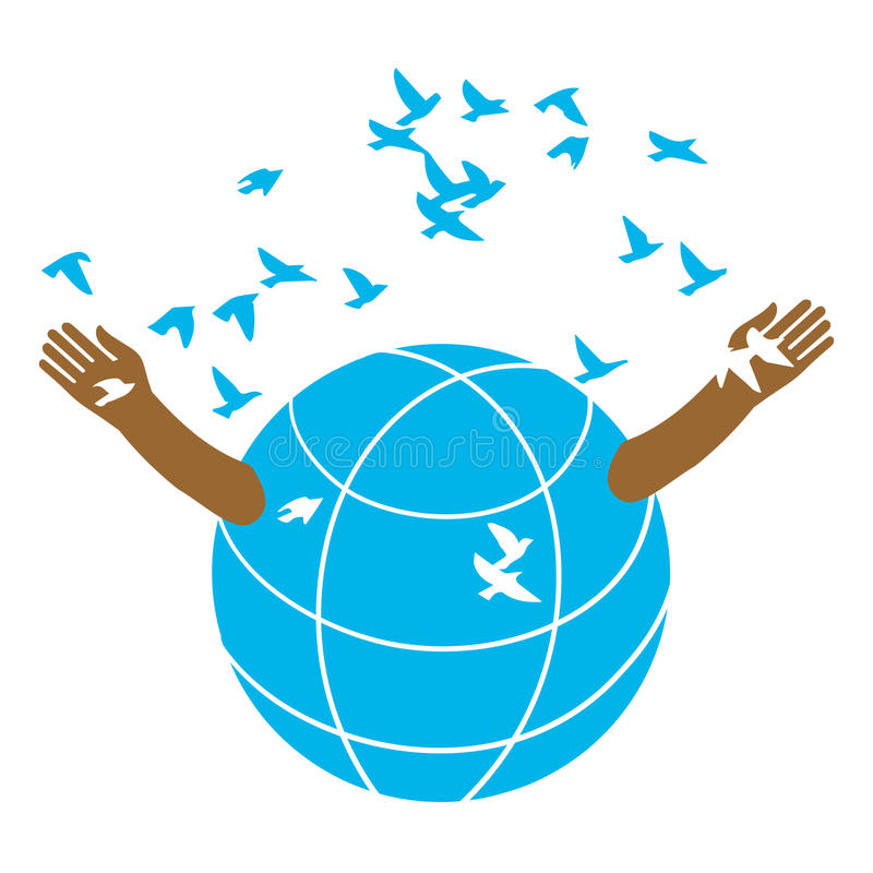 The globe produces birds. The globe opens the arms of the flock of birds. Logo. Illustration. A symbolic image of peace. Kindness and love vector illustration