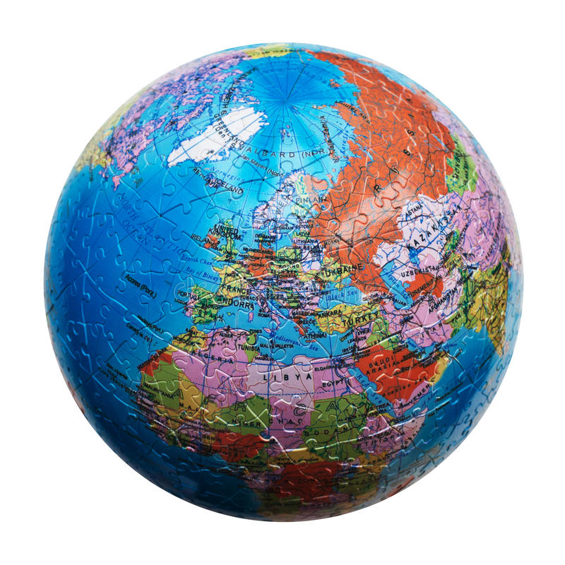 Globe puzzle isolated. Map of Europe stock photo