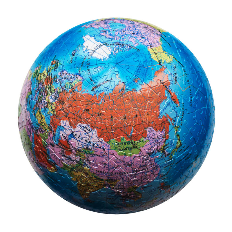 Globe puzzle isolated. Map of Russia royalty free stock image