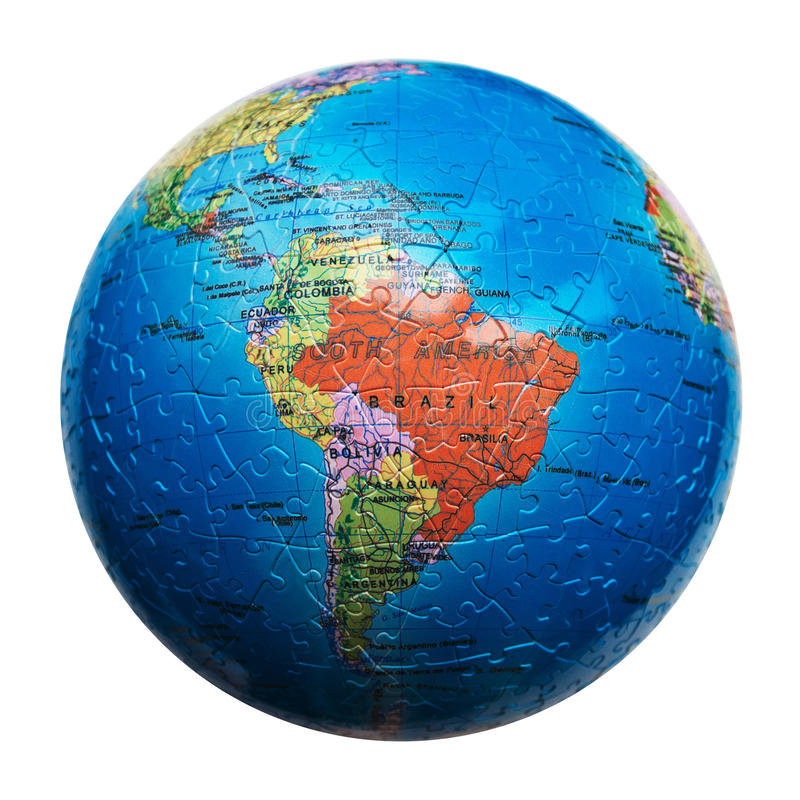 Globe puzzle isolated. Map of South America. Brazil stock photo