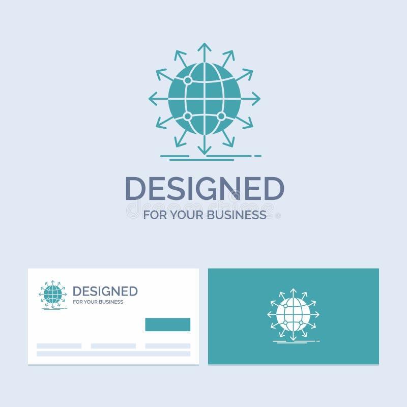 globe, réseau, flèche, nouvelles, affaires mondiales Logo Glyph Icon Symbol pour vos affaires Cartes de visite professionnelle de illustration stock