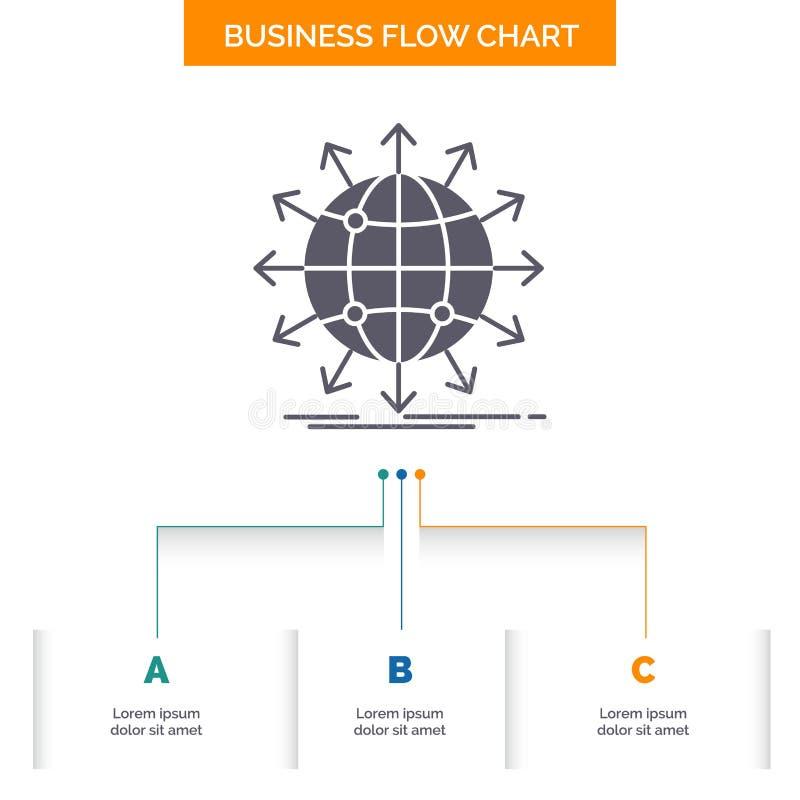 globe, réseau, flèche, nouvelles, conception mondiale d'organigramme d'affaires avec 3 étapes Ic?ne de Glyph pour le calibre de f illustration stock