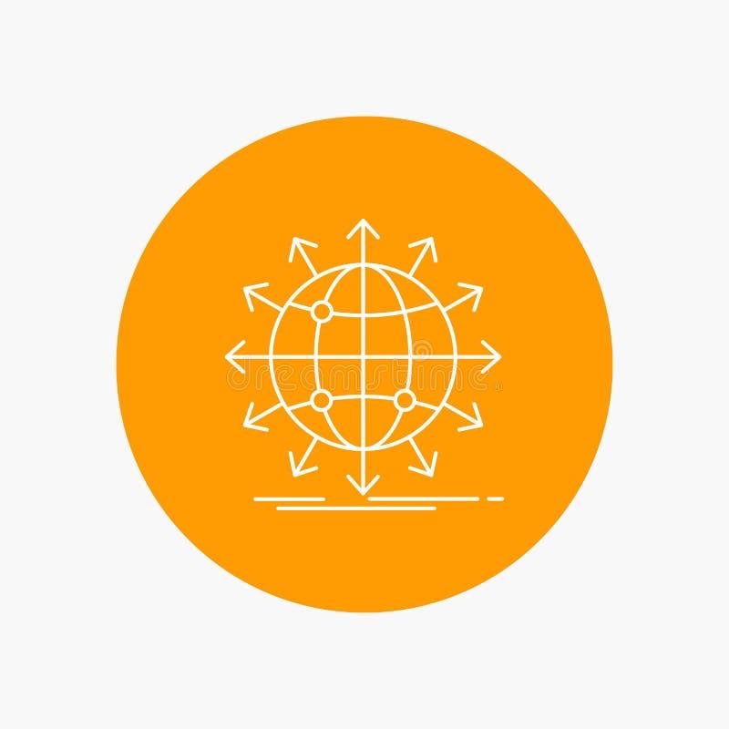 globe, réseau, flèche, nouvelles, ligne blanche mondiale icône à l'arrière-plan de cercle Illustration d'ic?ne de vecteur illustration libre de droits