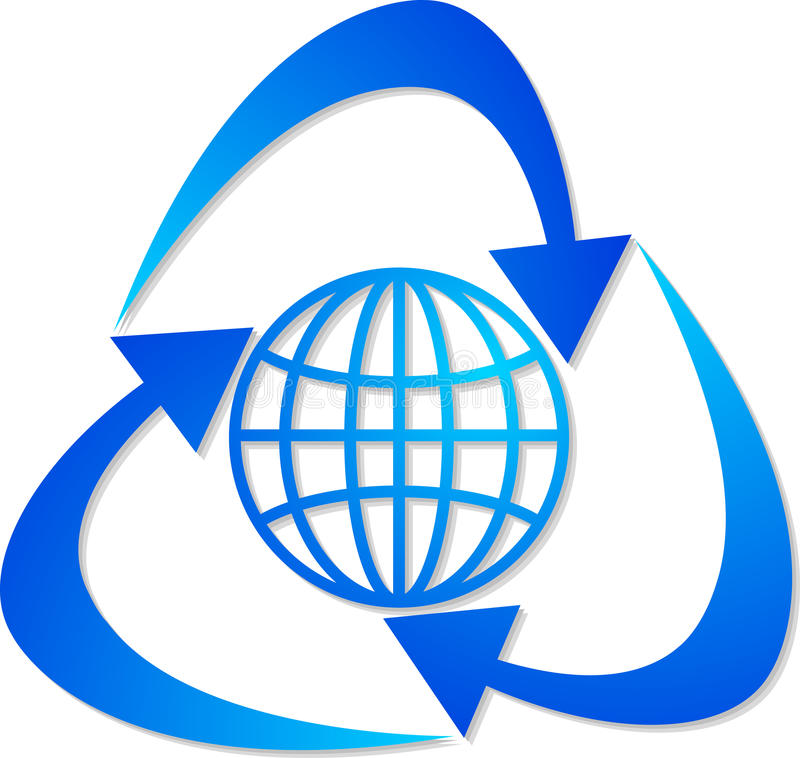 Globe recycling logo vector illustration