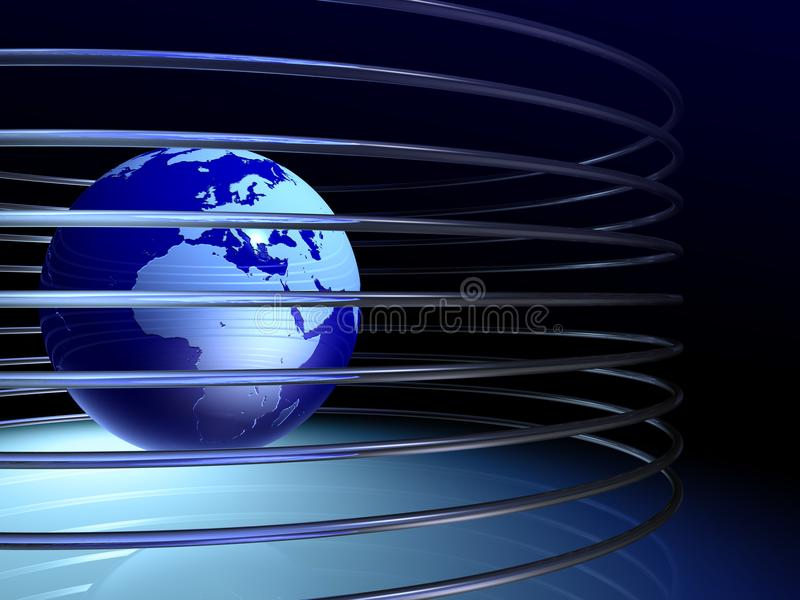 Globe with rings royalty free stock image