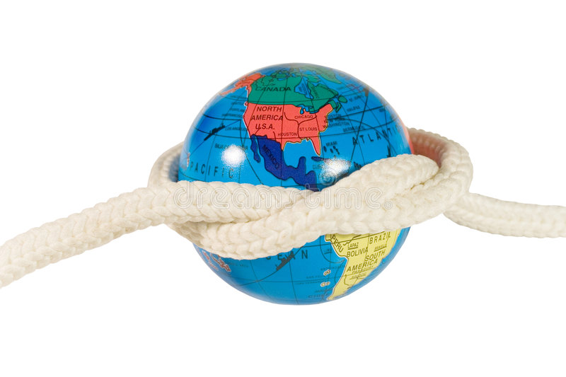 Globe with a rope. (isolated on white stock photos