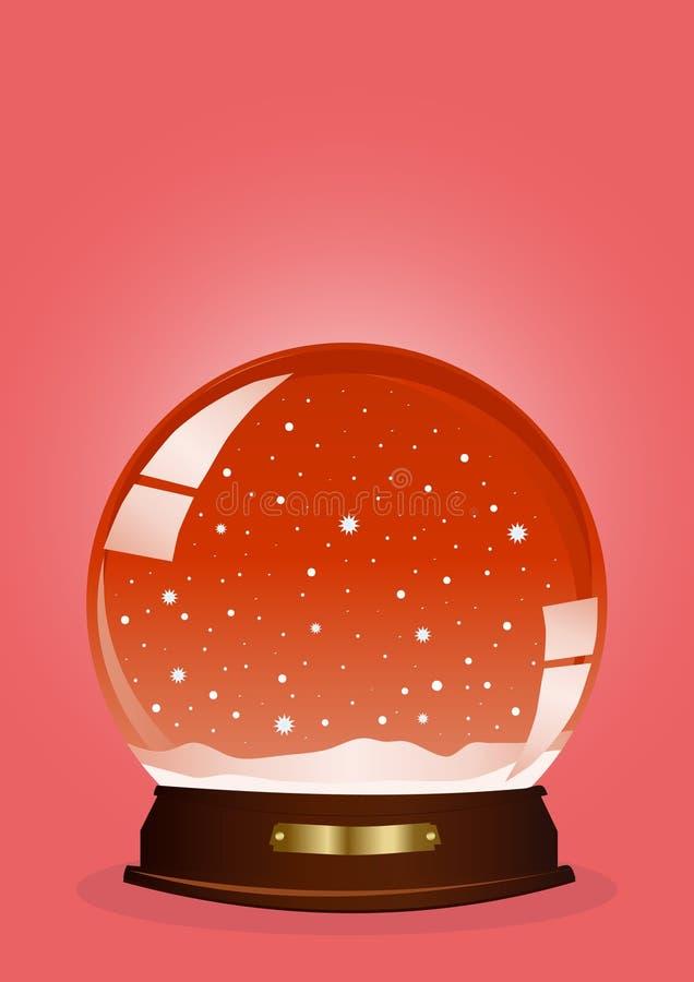 Globe rouge de neige illustration de vecteur