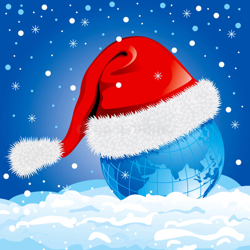 Globe in a Santa Claus hat. Vector. royalty free illustration