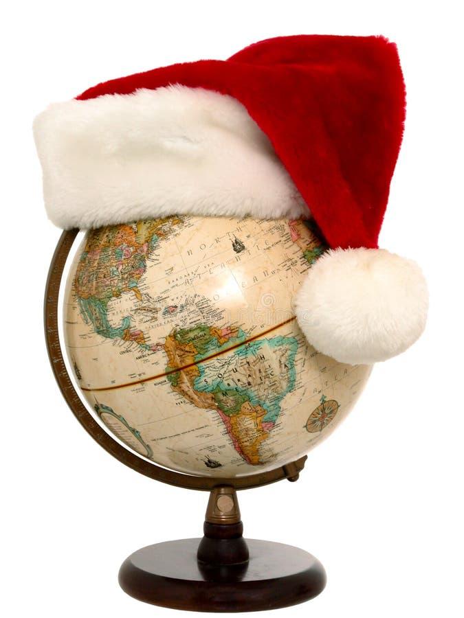 Globe with Santa Hat (2 of 3) royalty free stock photo