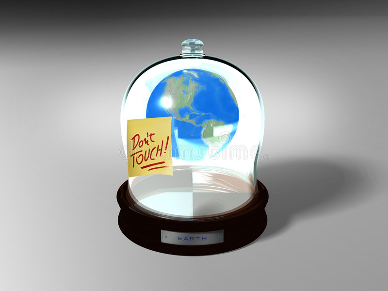 Globe Save. Fragile earth. Conceptual image: save the planet. 3D image. Globe Save stock illustration