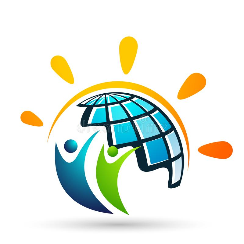 Globe save world People care kids children  taking care people save protect family care logo icon element vector desing. Globe save world People kids sun care stock illustration