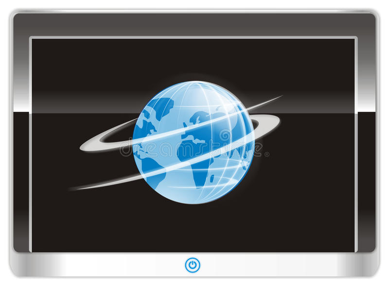 Tablet PC device in vector. On the tablet PC display device globe logo. Vector Image vector illustration