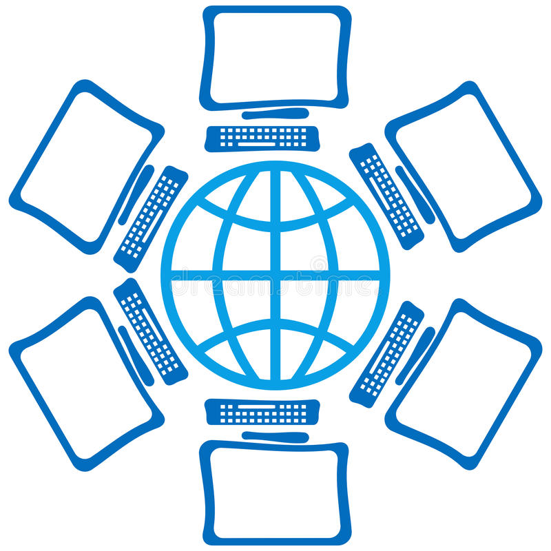 Globe With Screens. Globe symbol in blue surrounded by computer screens stock illustration