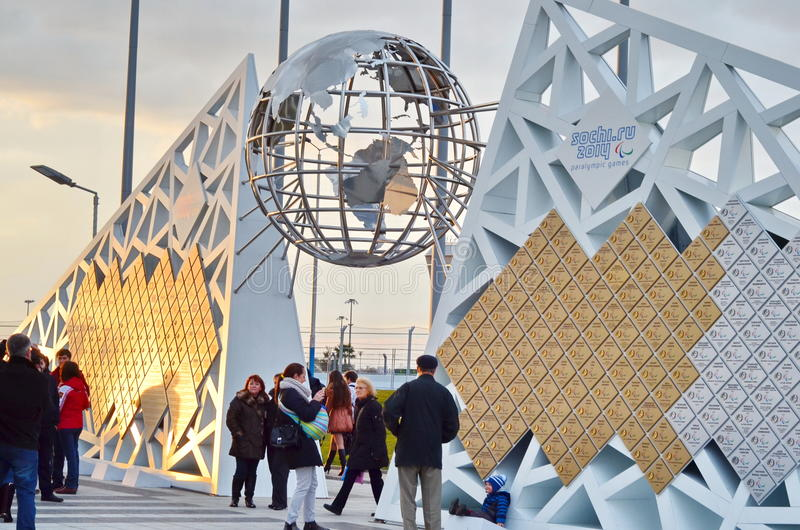 Globe sculpture in Sochi, Russian Federation. SOCHI, RUSSIA - FEBRUARY 7, 2015: Globe sculpture in Sochi, Russian Federation erected after the XXII Olympic stock images