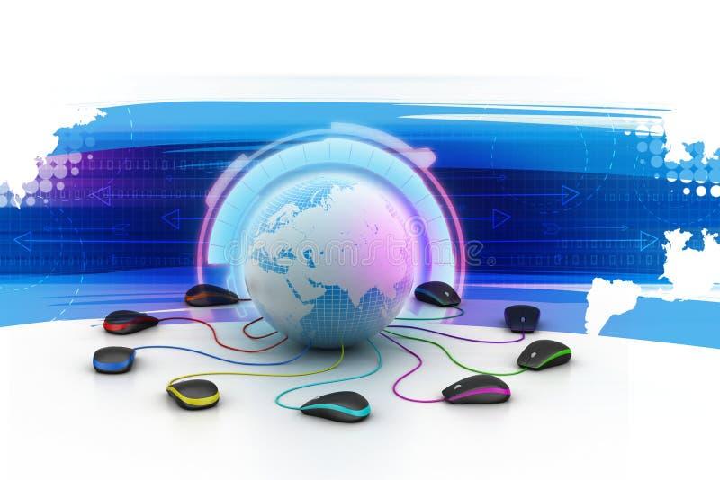 Globe se reliant à la souris d'ordinateur illustration stock