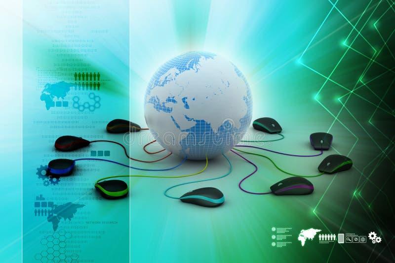 Globe se reliant à la souris d'ordinateur photos libres de droits