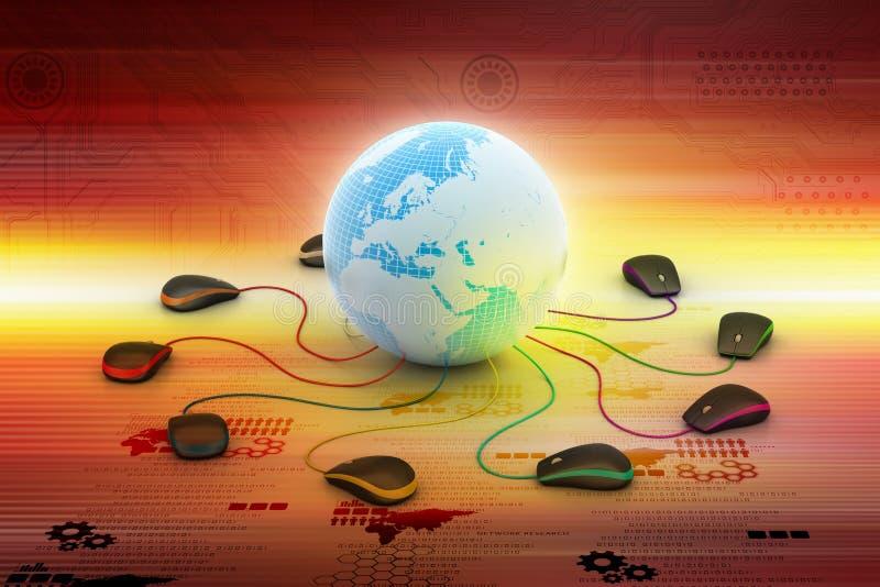 Globe se reliant à la souris d'ordinateur photo libre de droits