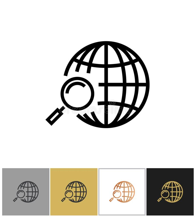 Globe search icon, web or internet search symbol stock illustration