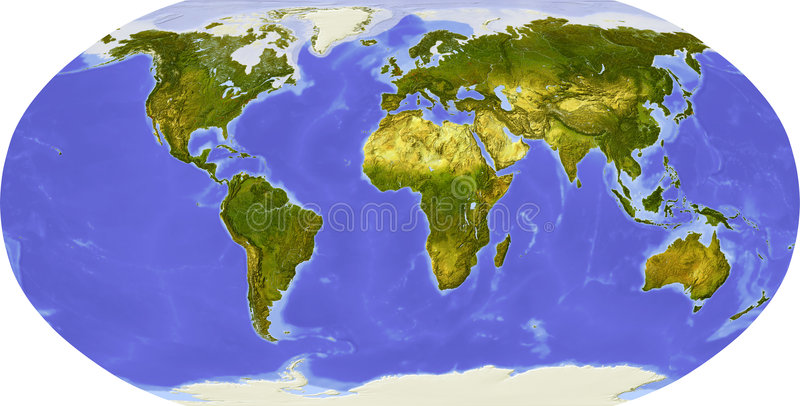Globe, shaded relief, centered on Africa stock illustration