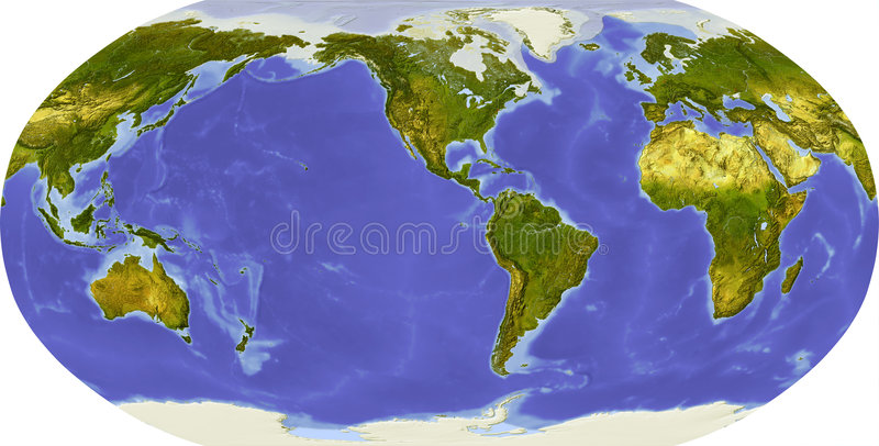 Globe, shaded relief, centered on America stock illustration