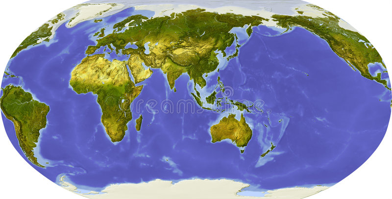 Globe, shaded relief, centered on Asia stock illustration