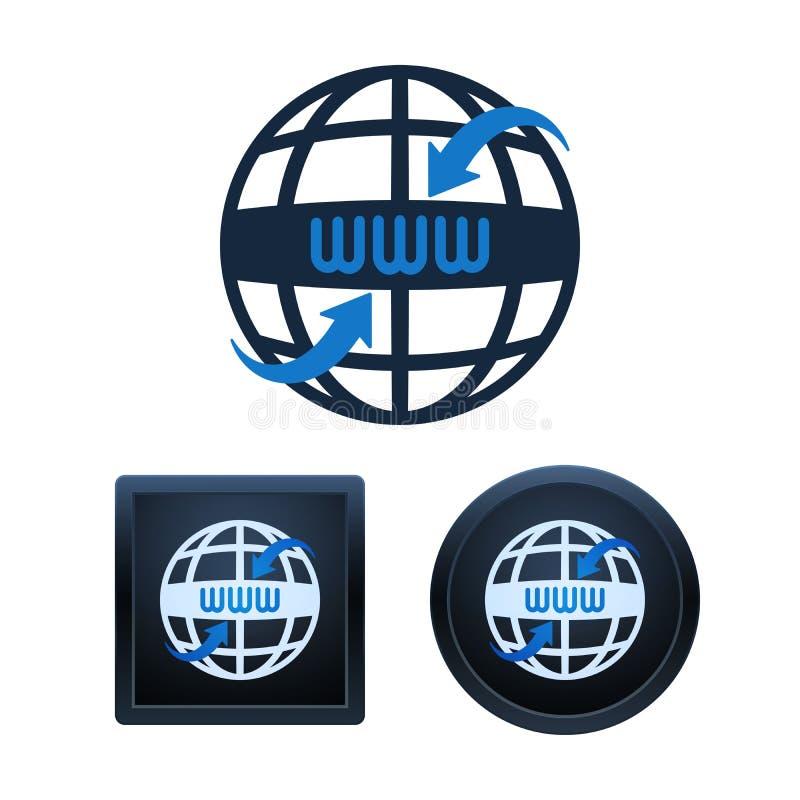 Globe shaped www icons design, isolated illustrations stock illustration