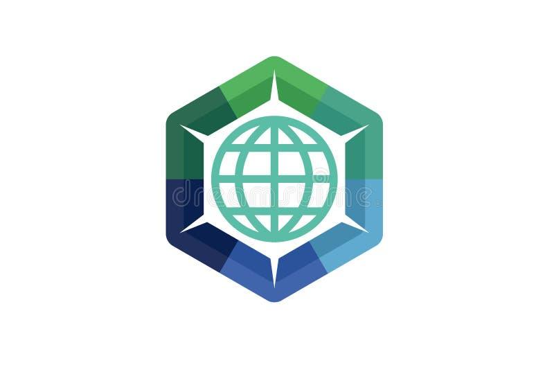 Globe Share Logo Design. Illustration royalty free illustration