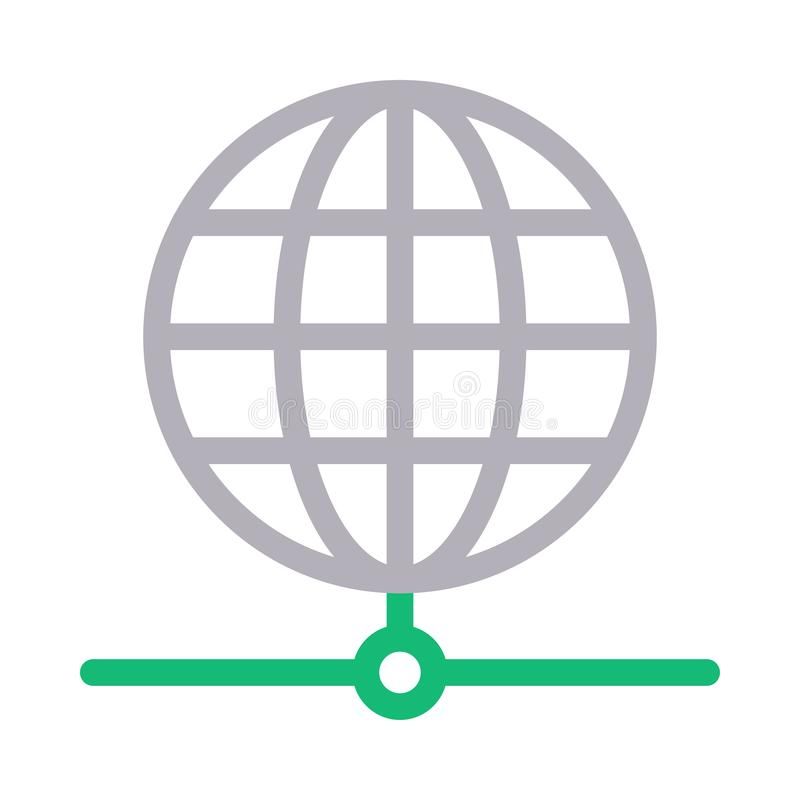 Globe sharing thin color line vector icon. Globe sharing vector icon. Elements for mobile concept and web apps. Thin line icons for website design and stock illustration