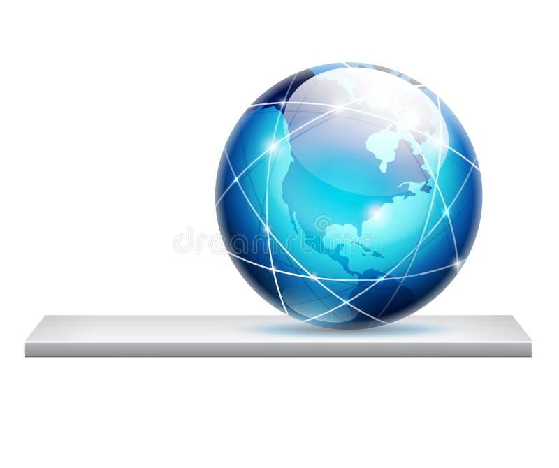 Globe on a shelf stock illustration