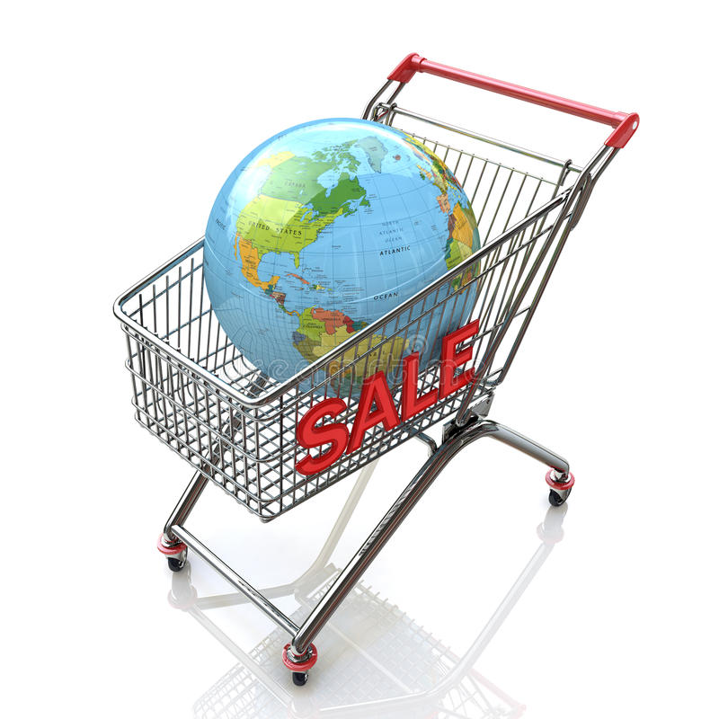 Globe shopping cart concept stock photos