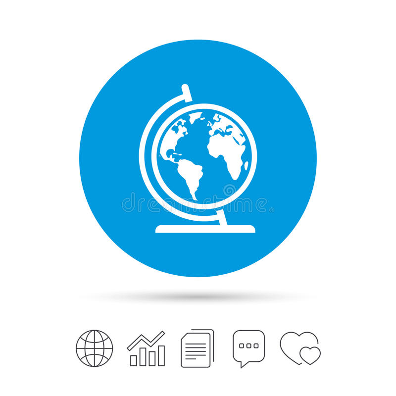 Globe sign icon. World map geography symbol. Globe on stand for studying. Copy files, chat speech bubble and chart web icons. Vector vector illustration