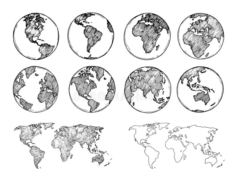 Globe sketch. Hand drawn earth planet with continents and oceans. Doodle world map vector illustration royalty free illustration