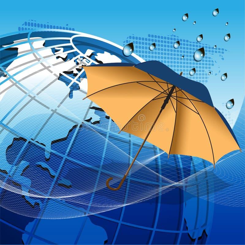 Globe Sous Le Parapluie Photographie stock libre de droits