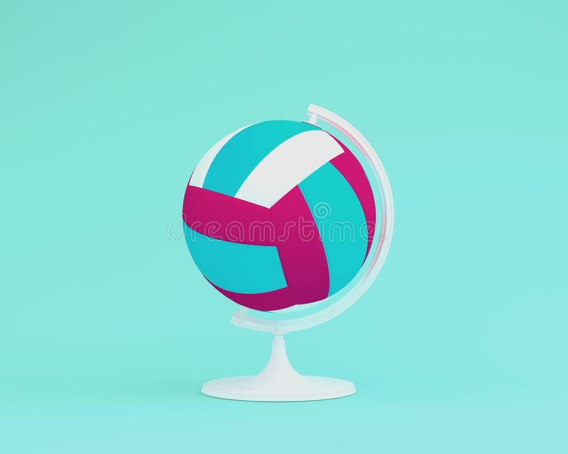 Globe sphere the orb Volleyball concept on pastel blue background. minimal idea sports concept. An idea creative to produce work. Within an advertising royalty free illustration