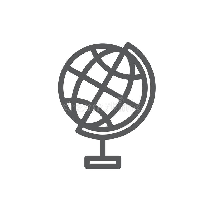 Globe sphere vector illustration editable icon - outline pixel perfect symbol of Earth model. stock illustration