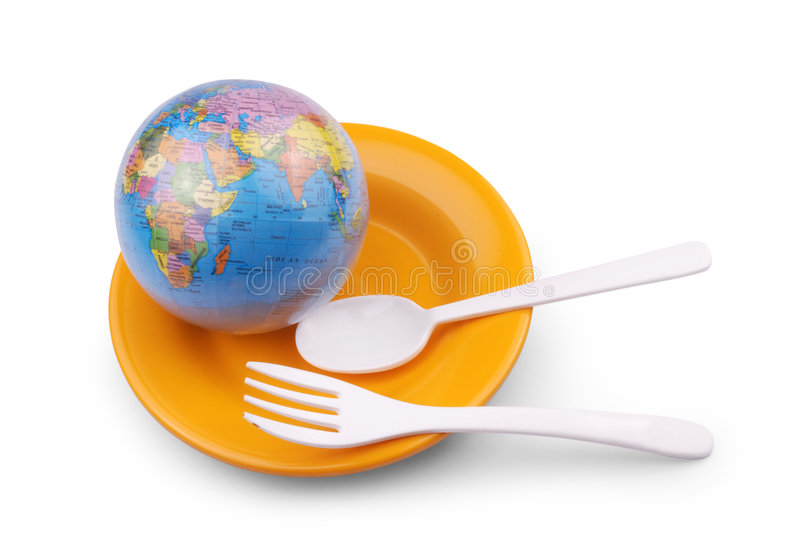 A globe with spoons royalty free stock photo