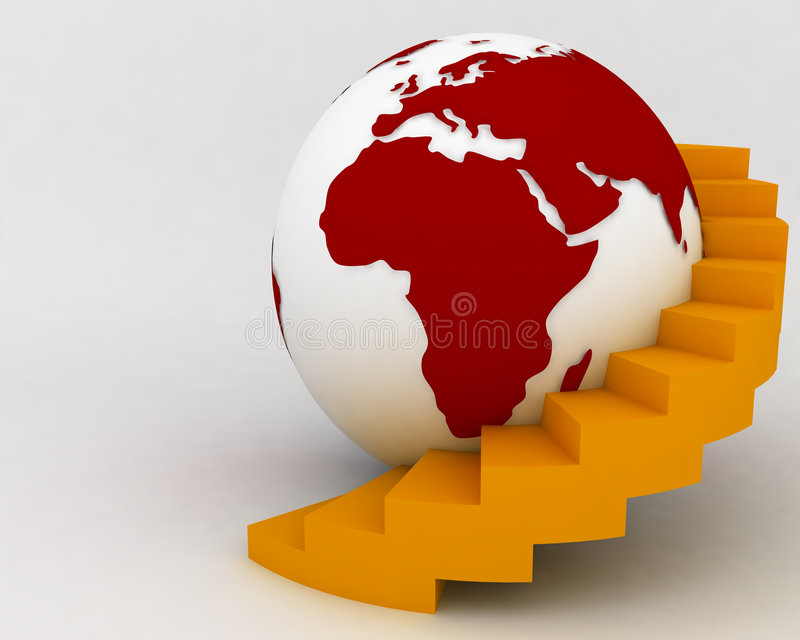 Globe Stairs003 vector illustration