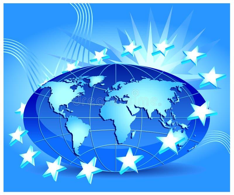 Globe with stars royalty free illustration