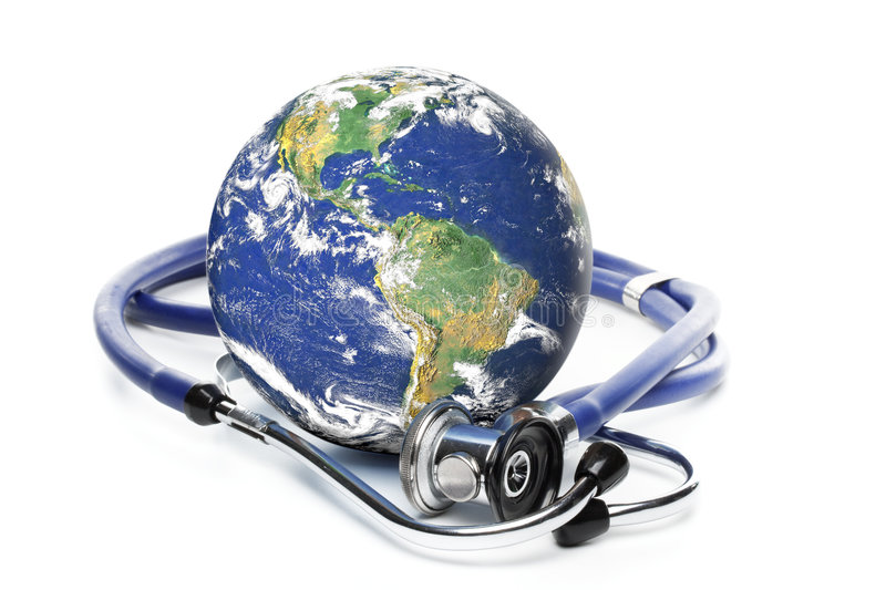 Globe with stethoscope. On a white background royalty free stock image