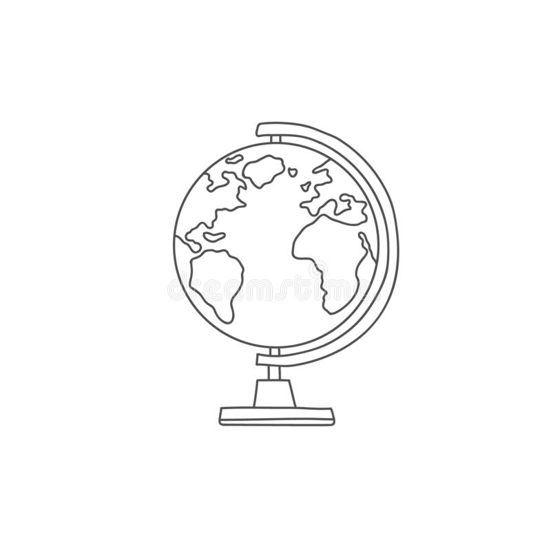 Globe in the style of doodle. Vector drawing by hand. Model of the globe.  vector illustration