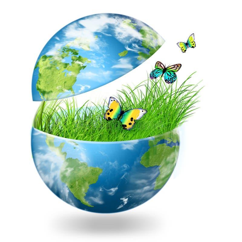 Globe sur l'herbe verte illustration stock