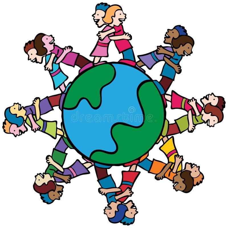 Globe with Surrounding Kids Hugging vector illustration