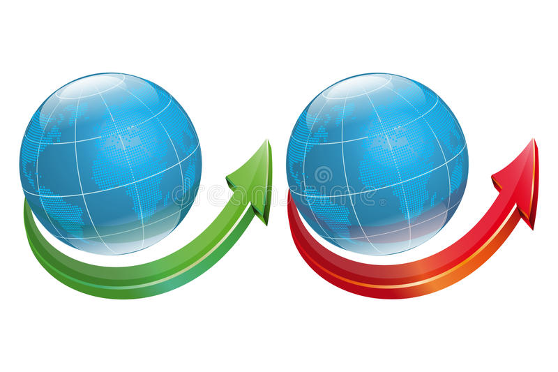Download Globe Symbol With Arrow-vector File Added Stock Vector - Image: 11892608