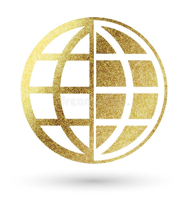 Globe symbol. In bright gold royalty free illustration